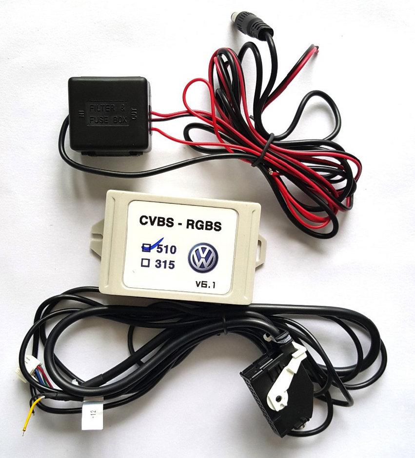 V8.0 CVBS to RGB Converter Rear View Flip Camera AV decoder video Adapter For Volkswagen VW RCD510 RNS510 car stereos