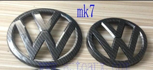 GOLF 7 MK7 Carbon Fiber Effect car emblem for VW logo badge - front+rear