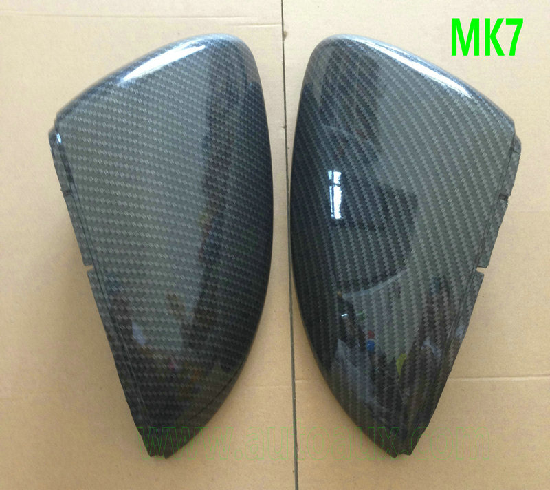 Golf MK7 GTI 7 Carbon Fiber Effect Wing Mirror Covers Caps RearView for Volkswagen