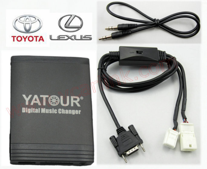 Digital CD changer for Toyota Small 6+6 plug(USB SD AUX Blueooth adapter interface) with CD changer