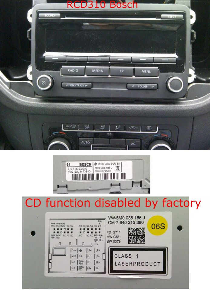 YT-M06 YT-M05 and YT-M04 are not compatible with 2011 and newer RCD310/RCD500/RCD510 on VW/Audi/Skoda/Seat