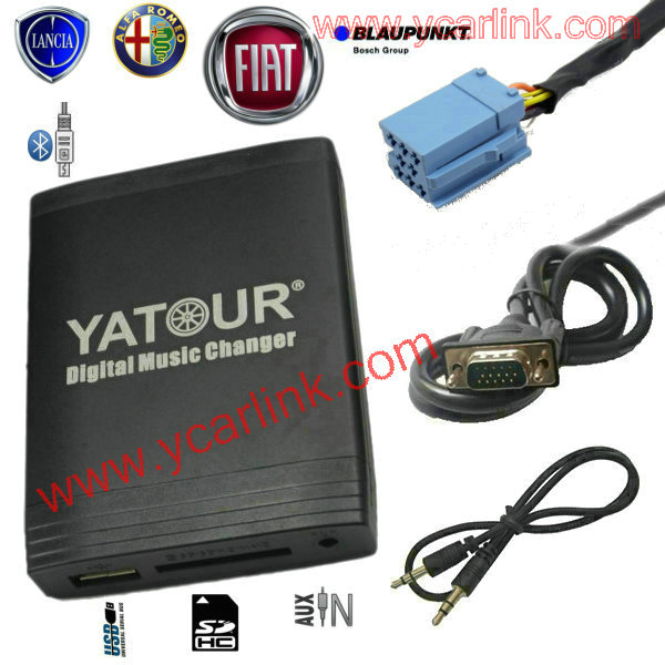 Car MP3 Bluetooth Interface for Fiat 8-Pin Alfa Lancia Maserati Blaupunkt(USB SD AUX CD Changer adaptor)