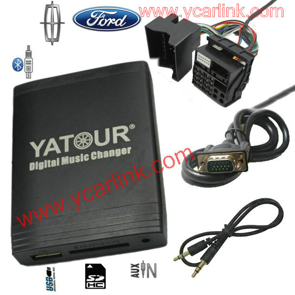 Digital CD USB SD AUX Bluetooth changer emulator adapter for new Ford quadlock Fakra 12 pin 6000CD 6006CDC 5000C