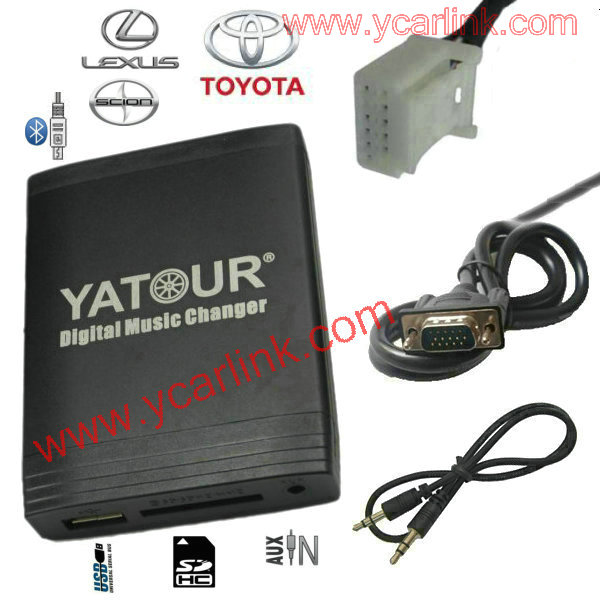 USB Car Stereo Adapter MP3 AUX Bluetooth interface CD Changer  for Toyota Lexus Scion Small 6+6 plug 2003-2013