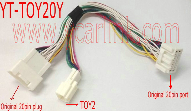 20pin to 6+6 small Y cable adapter for Lexus LS430 2001-2006 (YT-TOY20Y)